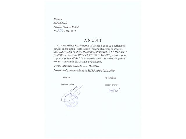 Anunt - Comuna Buhoci isi anunta intentia de a achizitiona servicii de proiectare privind obiectul de investitii Reabilitare si modernizare a sistemului de iluminat public in Comuna Buhoci