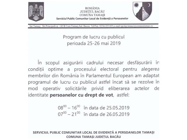 Anunt program special eliberare C.I.