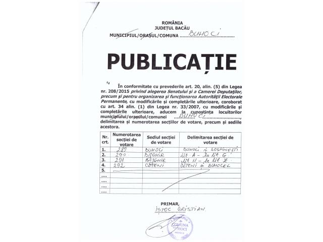 Publicatie - Delimitare si numerotare Sectii de Votare